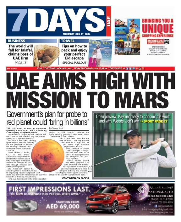 UAE Aims high with mission to Mars
