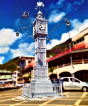 A clock tower in Seychelles