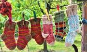 Handmade socks at flea market in Tbilisi, Georgia