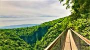 A narrow bridge at Oktase Canyon, Kutaisi in Georgia