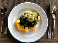 Scrambled Eggs, Baby Potatoes, Pea Couscous, Chinese Morning Glory