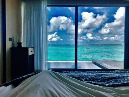 View from bed at St. Regis, Maldives