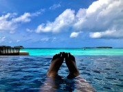 The view from a private swimming pool at St. Regis, Maldives